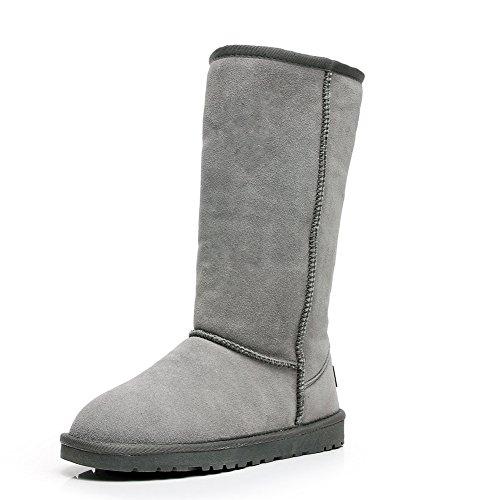Shenn Comfort Punk - Botas de caña alta para nieve, de ante, color Gris, talla 37 EU