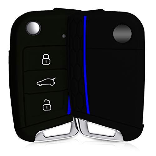 kwmobile Funda de Silicona Compatible con VW Golf 7 MK7 Llave de Coche de 3 Botones - Carcasa Suave de Silicona - Case Mando de Auto Negro/Azul
