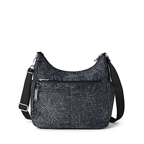 Baggallini womens Anti-Theft Free Time Crossbody Bag, Midnight Blossom,One Size