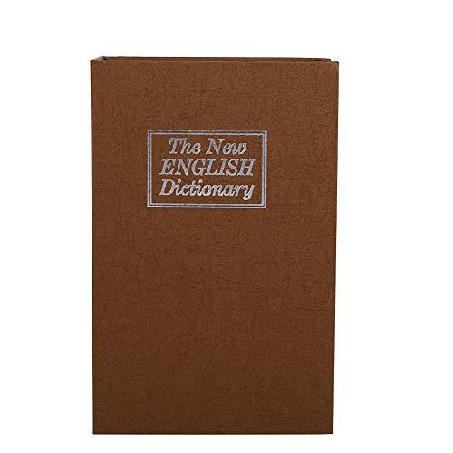 Caja de seguridad de diccionario de bloqueo de diccionario Caja de seguridad secreta para almacenar dinero extra (café con contraseña)