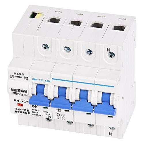 Mothinessto Interruptor disyuntor WiFi Inteligente Control Remoto inalámbrico Profesional 400 V para alquilar casa con Terminal Grande(40A)