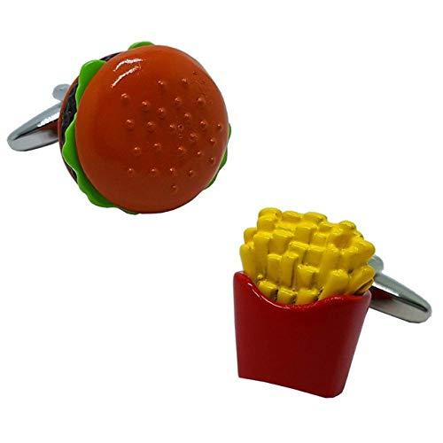 ZDJDMZ Personalisierte Manschettenknöpfe Hamburger & Pommes Frites Manschettenknöpfe Rote Farbe Neuheit Food Design Einzigartige Manschettenknöpfe