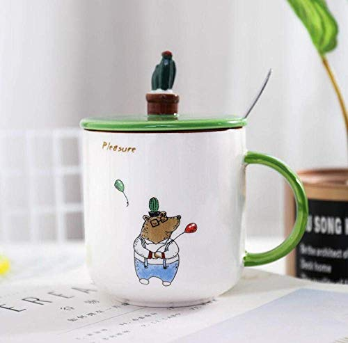 LHQ-HQ Ceramic Cup Novelty Animal Ceramics Cup With Cover Spoon Office Lovely Cartoon Concise Breakfast Coffee Milk Juice Cute Mug Cup