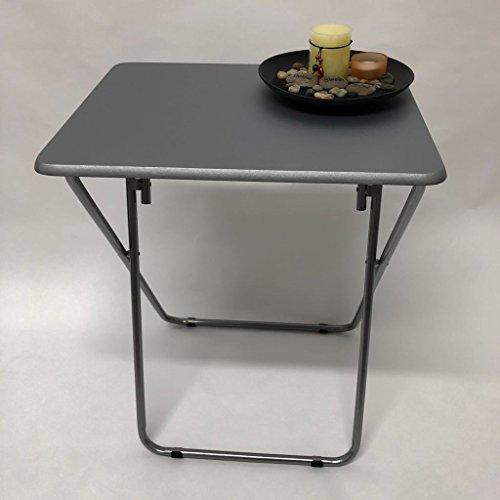 PVC Table Heavy Duty Reliable Steel Tube Folding Legs Garden Home Space Saving Furniture (Grey)