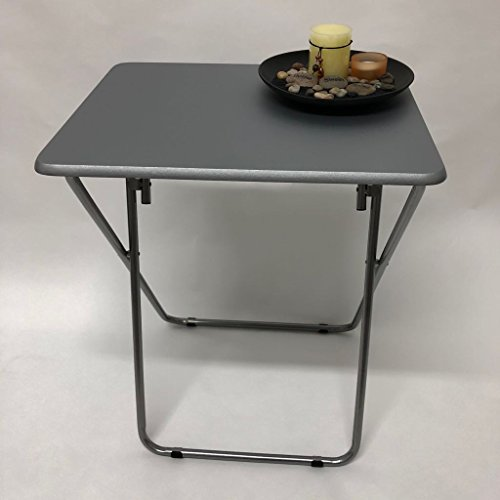 PVC Table Heavy Duty Reliable Steel Tube Folding Legs Garden Home Space Saving Furniture (Grey)
