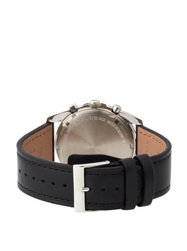 Swiss Army Homme Bracelet Cuir Boitier Acier Inoxydable Quartz Cadran Noir Chronographe Montre...