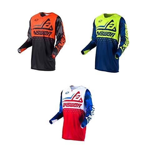 Motocross Jersey Motorcycle Ricing Jersey Cycling Shirt Quick Dry Shirt MTB Long Sleeve Bike Jersey Men ans (Orange,M)