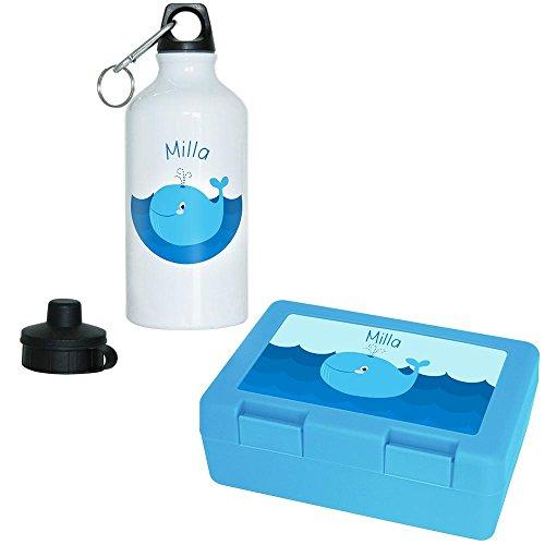Brotdose + Trinkflasche Set mit Namen Milla und Motiv mit Blauwal für Mädchen | Aluminium-Trinkflasche | Lunchbox | Vesper-Box