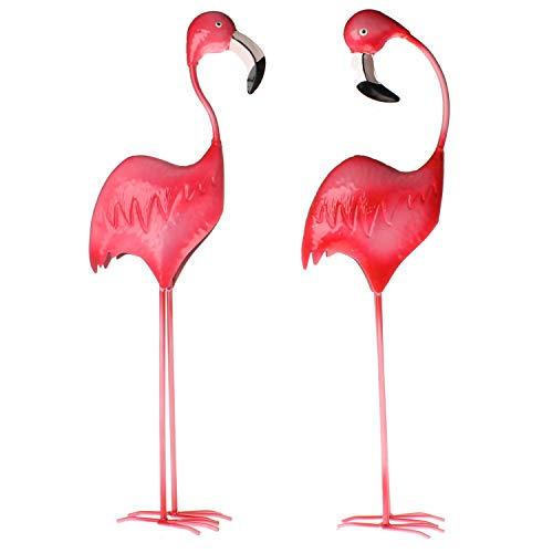 MACOSA WV42863 - Juego de 2 Figuras Decorativas de Flamenco para jardín (Metal), Color Rosa