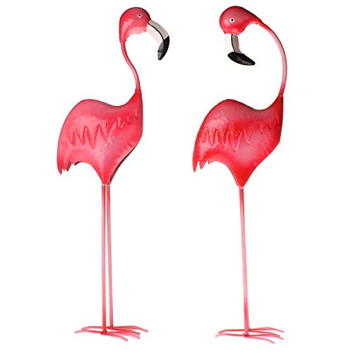 MACOSA WV42863 Flamingo Metall Figur 2er Set Pink Gartenfigur Garten-Dekoration bunt Vogel Teich-Deko Dekofigur Teichfigur Metallfigur Garten Deko