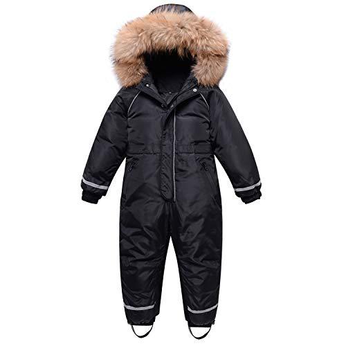 Traje de Nieve para Niños Niñas, Pluma Mono con Capucha Impermeable Chaqueta Manga Larga Abrigo de Invierno Ropa de Esquí 5-6 Años