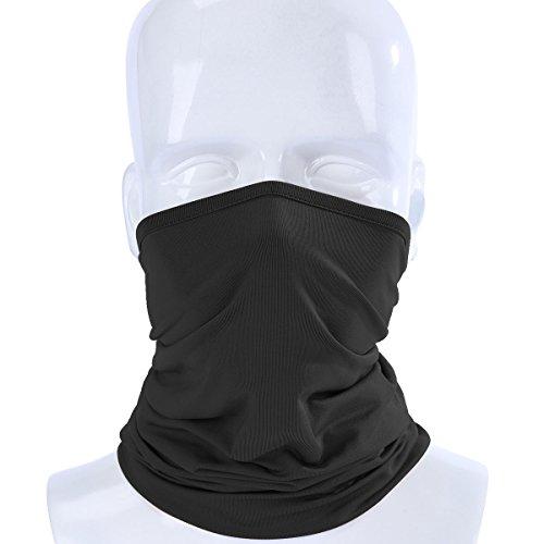 ECYC Elastic Breathable Neck Gaiter Tube Scarf Half Face Guard Motorcycle Bicycle Balaclava Headwear Pirate Hats,Black