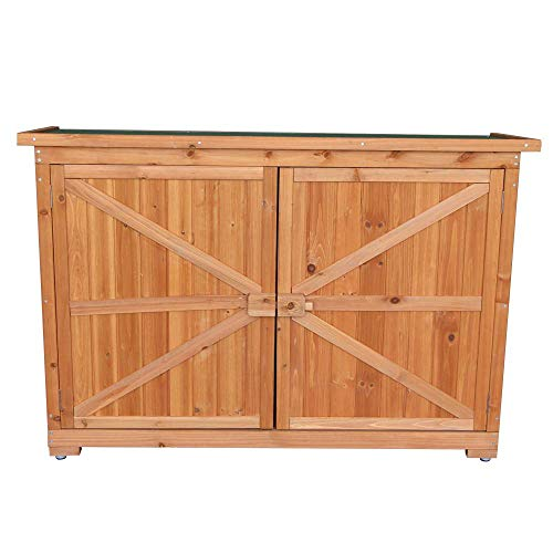 FRITHJILL Tool Shed,Double Doors Fir Wooden Garden Yard Shed Lockers Outdoor Storage Cabinet