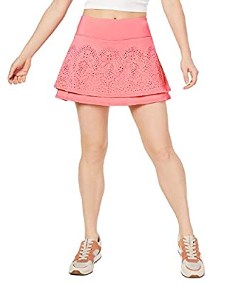 Ideology Performance Perforated Tennis Skort, Peach Kiss (X-Large)