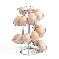 Yontree Spiraling Design Egg Skelter Dispenser Rack Egg Storage Holder Freestanding WHITE