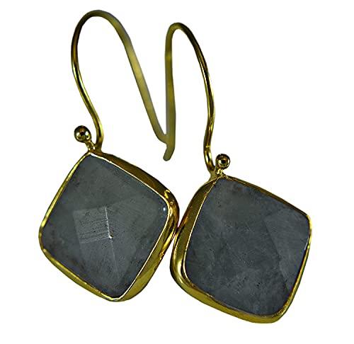 Aguamarina - Plata de ley 925 - Pendiente cuadrado - Chapado en oro/Aquamarine - 925 sterling silver - square earring - gold plated - diamond - geometry - birthstone March - Aquarius