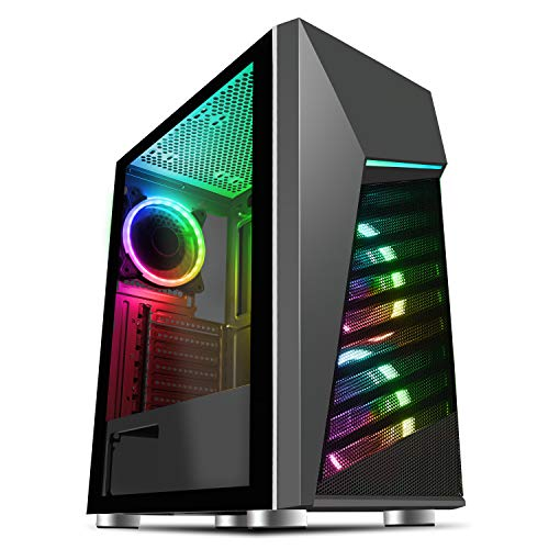 CiT Alpha ARGB PC Gaming Case, ATX, 3 Ventiladores GMX Velocity ARGB y 1 Tira LED | Negro