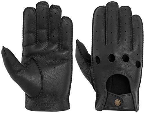 Stetson Deer Nappa Oldtimer Racing Lederhandschuhe Handschuhe Fingerhandschuhe Herrenhandschuhe Hirschleder für Herren (7,5/XS, 1 - Schwarz)