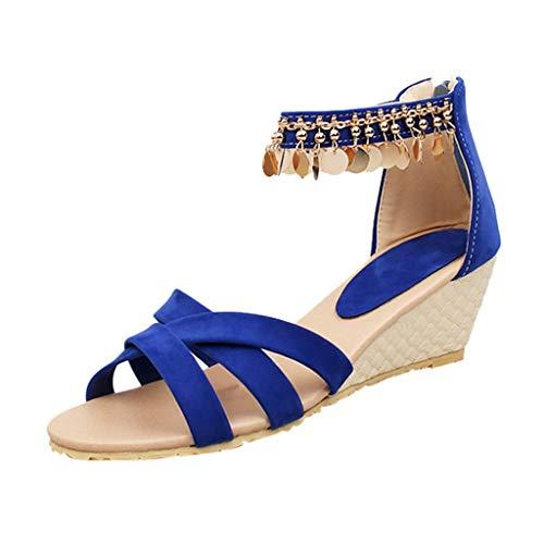 Beonzale Sandalias de verano para mujer, con cuña de metal, estilo griego, con correa de hebilla, para el tiempo libre, color Azul, talla 38 EU