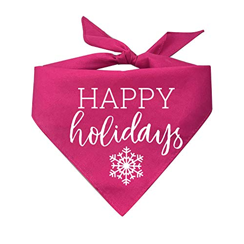Tees & Tails Happy Holidays (Christmas Hanukkah) Dog Bandana (Assorted Colors)
