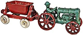 Design Toscano Fordson Tractor with Spill Wagon Replica Cast Iron Farm Toy Tractor, Multicolored