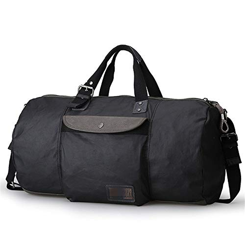 MxZas Overnight Weekend Bag Mens Weekend Travel Bag Canvas Luggage Gym Sport Shoulder Handbag Crossbody Bag Carry On Bag (Color : Black, Size : 53x31x31cm)