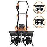 TACKLIFE Electric Tiller, 1500W Rotavator, Adjustable Working Width(32-45CM), 20CM Tilling Depth, Foldable Handle