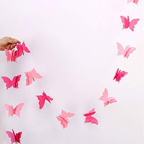Papel Cuerda Pancartas Mariposa Guirnalda Papel Pancarta de Colores Guirnalda Papel para Boda Fiesta Cumpleaños Baby Shower Vacaciones Decoración (2.7mWhite) - Rosa, 2.7m