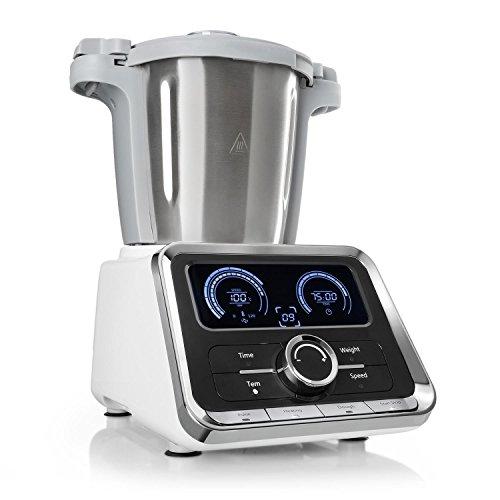 Klarstein GrandPrix - robot de cuisine, robot mélangeur, machine à pâte, 500-1000 watts, récipient en inox de 2,5 l, température réglable entre 30 et 120 °C, 12 niveaux de vitesse, argent