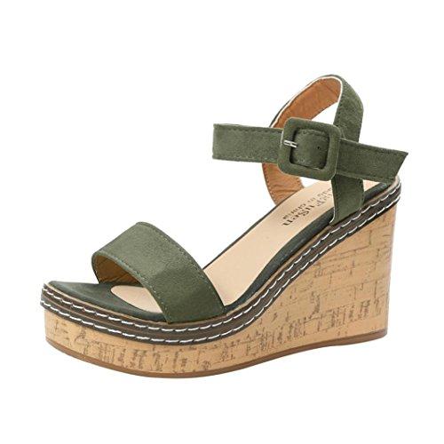FNKDOR Damen Keilabsatz Sandalen Plattform Peeptoe Schuhe Wedges Sandaletten (36, Grün)