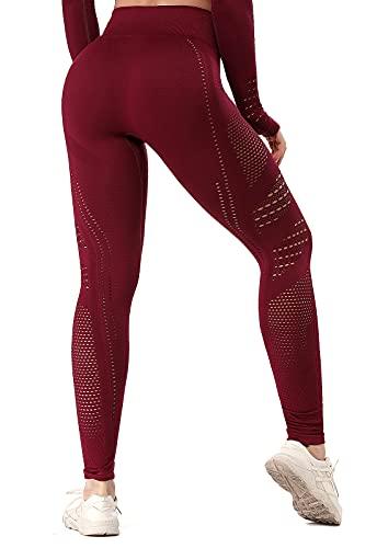 FITTOO Leggings Sin Costuras Corte de Malla Mujer Pantalon Deportivo Alta Cintura Yoga Elásticos Fitness Seamless #1 Rojo S