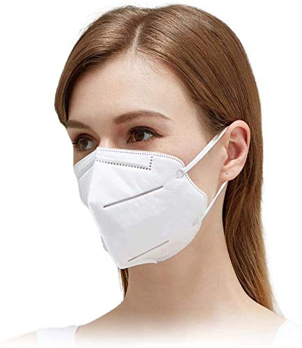 Disposable Face Mask with 95% Filtration | 5 Layer Safety Mask with Adjustable Nose Bridge & Comfort Ear Loops | Lightweight and Foldable Bulk Masks for Work & School (50 Pack))