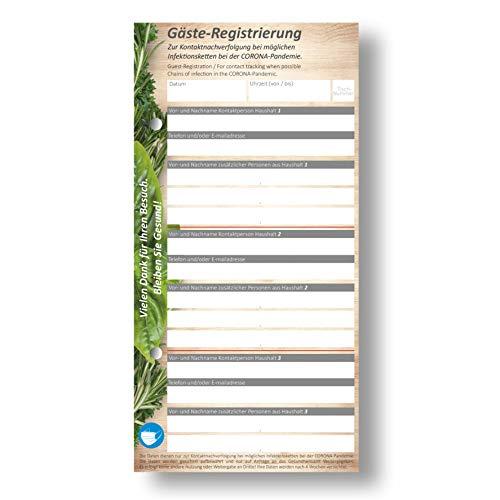 Corona Kontaktformular Gastronomie - Kontaktdaten - Zettel/Block 1400 Blatt (28 Blocks mit je 50 Blatt) Naturpapier - gelocht.