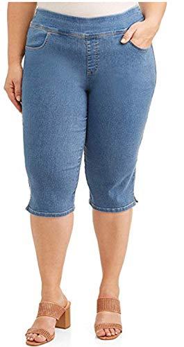 Light Wash Blue Denim Plus Size Relaxed Fit Pull On Capri - 0X