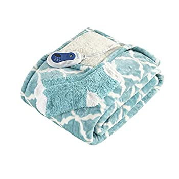 Comfort Spaces Plush to Sherpa Electric Blanket Shoulder and Neck Wrap with Matched Sock Set Ultra Soft and Warm Hypoallergenic Fleece-Reversible Heated Poncho Throw 50  W x 64  L Ogee Aqua