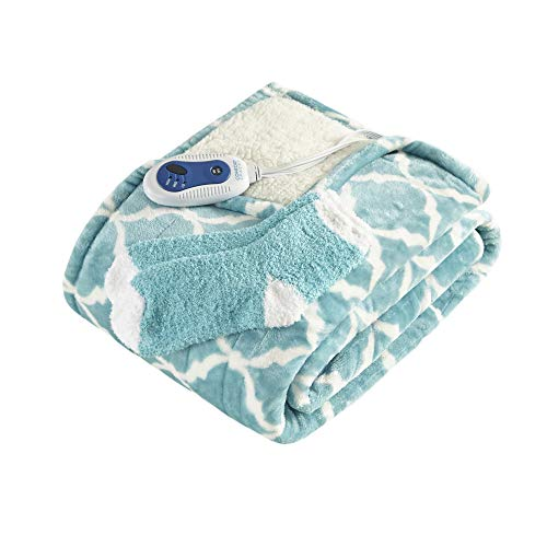 Comfort Spaces Plush to Sherpa Electric Blanket Shoulder and Neck Wrap with Matched Sock Set Ultra Soft and Warm Hypoallergenic Fleece-Reversible Heated Poncho Throw, 50' W x 64' L, Ogee Aqua