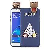 Funluna Funda Samsung Galaxy J7 2016, 3D Gato Patrón Ultra Delgado TPU Cover Suave Silicona Carcasa Gel Anti-Rasguño Protectora Espalda Bumper Case para Samsung Galaxy J7 2016, Azul