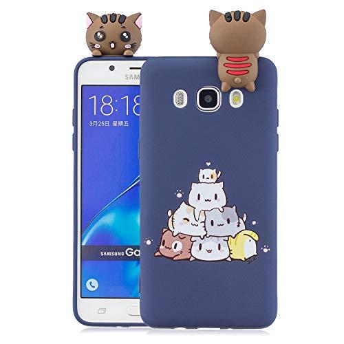 Funluna Funda Samsung Galaxy J5 2016, 3D Gato Patrón Ultra Delgado TPU Cover Suave Silicona Carcasa Gel Anti-Rasguño Protectora Espalda Bumper Case para Samsung Galaxy J5 2016, Azul
