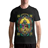AngeloCaroline MGMT Men Casual T Shirt Cotton Short Sleeve Tops L Black