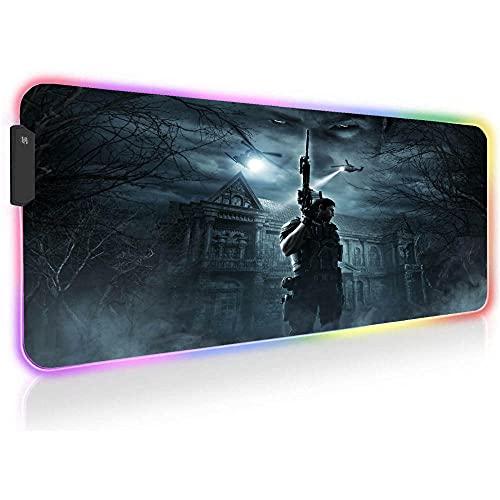 Resident Evil Alfombrillas de ratón para Juegos Brillante RGB Retroiluminada Gran Iluminación LED Colorida Alfombrilla de Teclado XXL 23,62 Pulgadas X 11,8 Pulgadas X0,16 Pulgadas