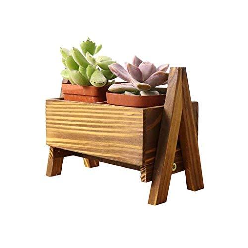 YINUO Support de rangement de bureau en bois Multi-petit support de fleurs Support de fenêtre de bureau créatif Support de rangement de bureau Mini bureau brun Taille: 19x10.5x14.5CM