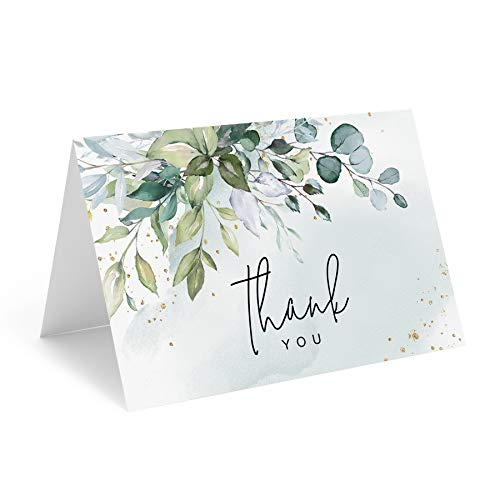 Bliss Collections Greenery Watercolor Thank You Cards with Envelopes, Pack of 25, 4x6 Folded, Tented, Bulk, Perfect for: Wedding, Bridal Shower, Baby Shower, Birthday, Funeral or Special Event