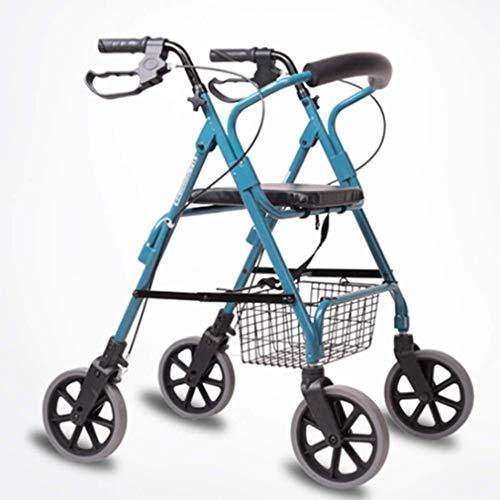 Walker voor ouderen Mobility Drive Walking Aids 4 Wielen Opvouwbaar, Rollator Walker met Dubbel Remsysteem, Medische Rolling Walker 4 Hoogte Verstelbaar Gebruikt voor Senioren Wandelen Gevoerde zitting en rug