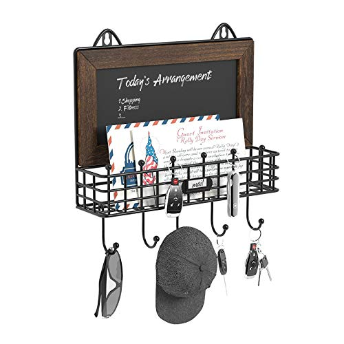 GREENSTELL Schlüsselbrett mit Tafel und Mehreren Haken, Schlüsselhaken aus Holz mit Ablage, Wandmagazinhalter Holzbriefhalter und Schlüsselaufbewahrung, Wandregale für Schlüssel, Zubehör Braun