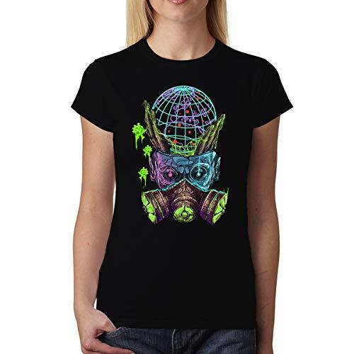avocadoWEAR Coronavirus Pandemia Maschera Antigas Donna T-Shirt Nero XS