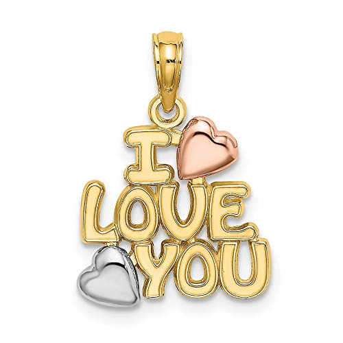 14ct Yellow and Rose Gold with Rhodium Plated I Love You with Hearts Charm Pendant