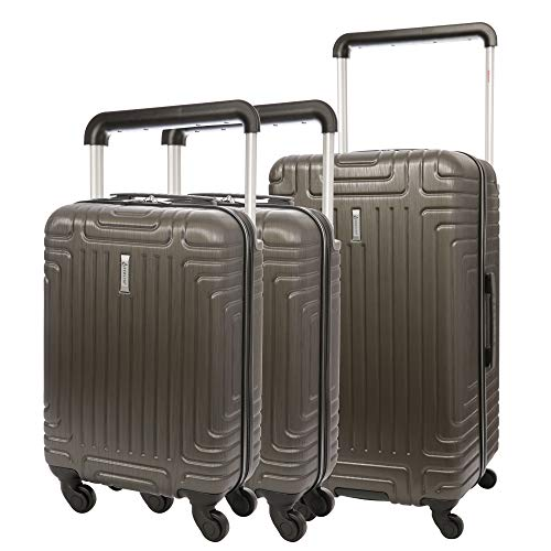 """Aerolite 3 Piece ABS Hard Shell 4 Wheel Trolley Bag Suitcase Luggage Set, 2X 21"""" Cabin 55x35x20 + 1x 28"""" Large Hold Luggage Suitcase (Charcoal)"""