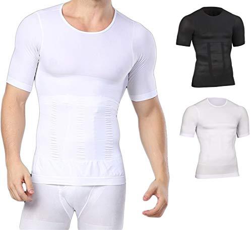 Bauchweg Bodyshaper Slimming T-Shirt Men Miederbody Shapewear Figurformer mit Ärmeln (M, Weiß)