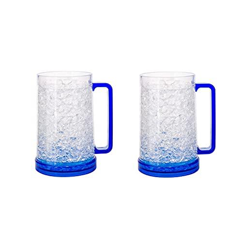 LIULIFE Tazas para congelador de 500ml, Vasos para Beber, Tazas De Cerveza Helada De Gel De Doble Pared para Fiestas Y Regalos, Jarra De Cerveza De RefrigeracióN De PláStico Transparente, Juego De 2