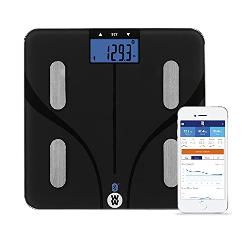 WW Scales by Conair Bluetooth Body Analysis Bathroom Scale, Measures Body Fat, Body Water, Bone Mass, Muscle Mass & BMI, 9 User Memory, 400 Lbs. Capacity
